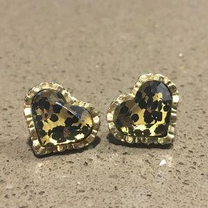 Betsey Johnson Cheetah Heart Earrings EUC